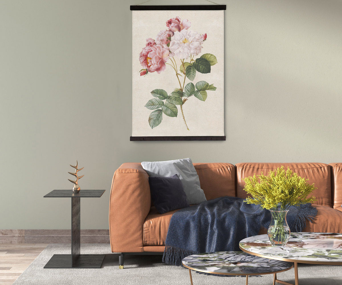 wandkleed-damascus-roos-groene-muur
