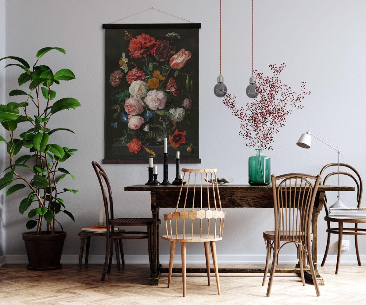 kleedjewand-eettafel-roses-black