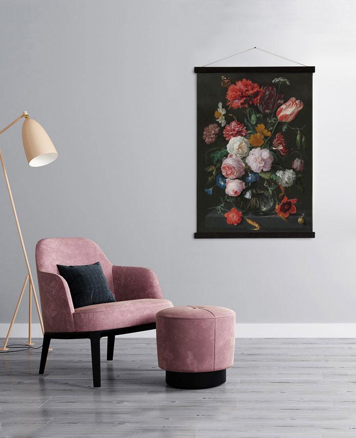 Prachtig wandkleed met stilleven van bloemen